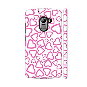 Colorpur Lenovo K4 Note Cover - Random Pink Hearts Printed Back Case