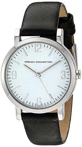French Connection Reloj de cuarzo para mujer con correa de piel color blanco esfera analógica pantalla y negro fc1249b