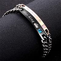 Fashion 2 Pcs Stainless Steel Couples Bracelets for Men Women His & Her Bracelet Chain Personalized King and Queen Bracelet Custom Engraving Cuff Bracelet 7.5-8.5inches