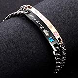 Fashion 2 Pcs Stainless Steel Couples Bracelets for Men Women His & Her Bracelet Chain Personalized King and Queen Bracelet C