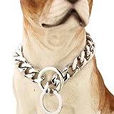 YOLANDE 17 mm breit Big Hip Hop Silber Ton Edelstahl 316L Dog Choke Kette Halsband Pets Personalisierte Cut Panzerkette Cuban Link Kette 12-34 inch,24