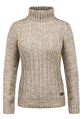 DESIRES Philipa Damen Strickpullover Zopfstrick mit Rollkragen aus hochwertiger 100% Baumwolle Meliert, Größe:L, Farbe:Dune (5409) (Rollkragenpullover Damen)
