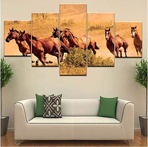 XYZNB Leinwanddrucke Dekoration Alte Kriegspferde Der Evangelisation Tier 5 Panel Moderne Wandkunst Poster Wohnzimmer (Größe C) Kein Rahmen