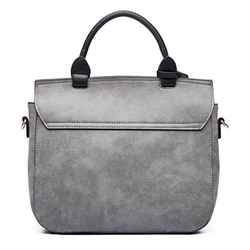 Plover's Bag Damen Schultertasche Handtasche Umhängetaschen Beiläufige Beutel Flap-Tasche grau