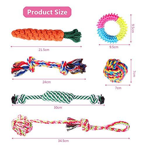 Habier Hundespielzeug, 6 Stück Kauspielzeug Hund Spielzeug Set Baumwollknoten Spielset Seil Interaktives Spielzeug für Kleine und Mittlere Hunde - 2