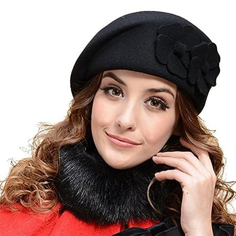 Beret Femme Noir - Beret Femme Laine Hiver Chapeau Element avec