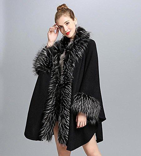 Femme Coton Acrylique Rectangle,Solide Automne Hiver black
