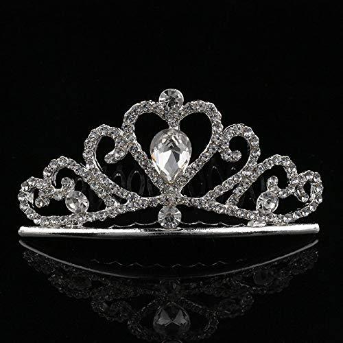 Kristall Strass Tiara Schwan Herz Crown Pageant Silber Frauen Mädchen Tiaras Haar Kamm 7 ()