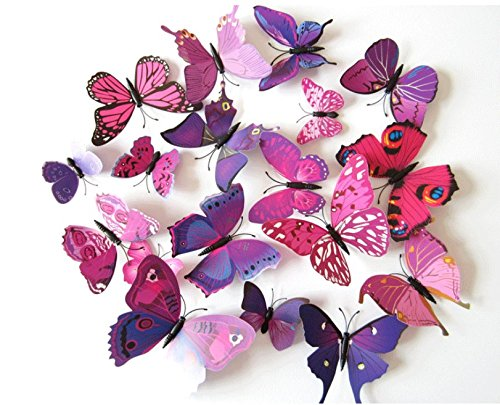 Lomire 12 x 3D Stickers Papillons Décoration Murale Butterfly Wall Decor Schmetterling Wanddeko-Violet