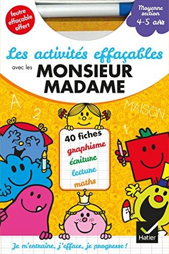 Les activités effaçables avec les Monsieur Madame - Moyenne Section