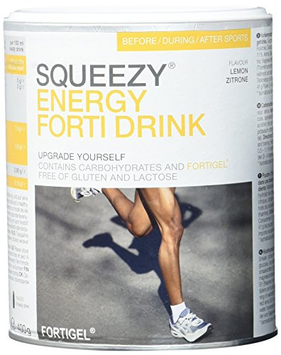 Squeezy Sports Nutrition Energy Forti Drink, Zitrone, 400 g Dose, Pulver mit Kollagenhydrolysat -