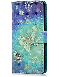 Huawei P20 Lite Funda, Huawei Nova 3e Funda Cuero PU Flip Notebook Cartera Funda con Soporte Magnético Tarjeta Ranura ID Folio TPU Bumper Protective Skin Case Cover para Huawei P20 Lite, Blue Butterfly