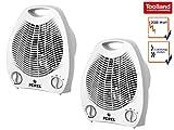 Elektrische Heizlüfter mit 2 Heizstufen als 2er Set, mit Ventilator & Thermostat, Toolland