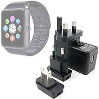 DURAGADGET Kit De Adaptadores Con Cargador Para Smartwatch Mobiper G08 / Wiseup GT08 - ¡Para Que Pueda Conectar Su Dispositivo Alrededor Del Mundo!