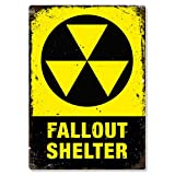 Fallout Shelter American Metal Wall Sign Plaque Art Inspirational Slogan Yellow Vintage Chic by Cirrus