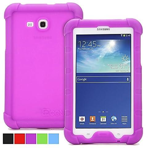 Galaxy Tab 3 Lite 7.0 Hülle - Poetic [Turtle Skin Serie] - [Ecken-/Kantenschutz] [Tastbare Seitengriffe] [Sound-Verstärker] [Lüftung unten] Schutzhülle aus Silikon für Samsung Galaxy Tab 3 Lite 7.0 Lila (3 Jahre Herstellergewährleistung von Poetic)