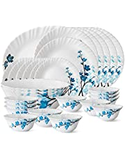 Larah By Borosil Mimosa Opalware Dinner Set, 27-Pieces, White