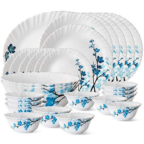 Borosil Mimosa Opalware Dinner Set, 27-Pieces, White