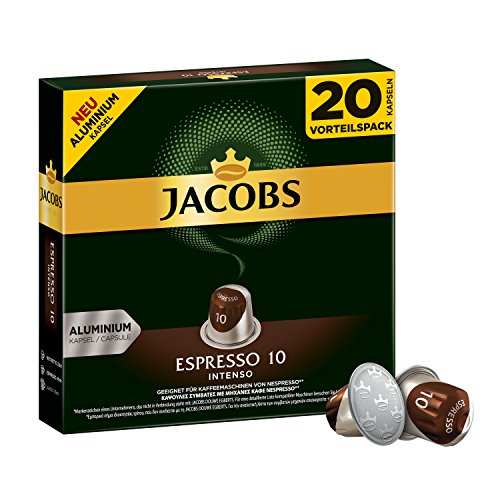 Jacobs Kapseln Espresso Intenso, Intensität 10, Nespresso®* kompatible Kaffeekapseln, 10x20 Kapseln (Aroma Expresso Maschine)