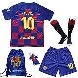 TMB 2019/2020#10 Leo Messi Barcelona Heim Kinder Fußball Trikot Hose und Socken Kindergrößen (Heim, 26 (9-10 Jahre))