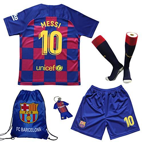 TMB 2019/2020#10 Leo Messi Barcelona Heim Kinder Fußball Trikot Hose und Socken Kindergrößen (Heim, 30 (12-13 Jahre))