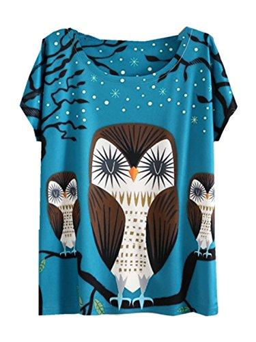 YICHUN Femme Fille Eté T-Shirt Tops Tee-shirt de Loisir Blouse Tees Camisole Caraco Tunique Animal (Hibou Arbre Bleu 3#)