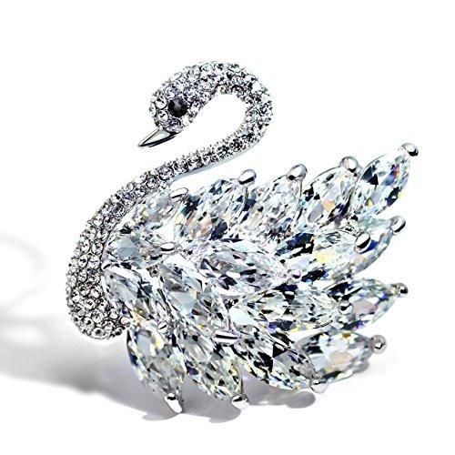 Festa della mamma regalo, Classic multistrato 3d cristallo elegante placcato cigno cigno strass Spilla Gioielli Crystal white swan