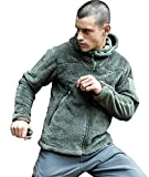 FREE SOLDIER Giacca in pile Tactical Sweatshirt Autunno Inverno Felpa con cappuccio caldo cappotto, Uomo, verde, L