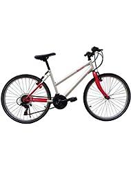 F.lli Schiano Thunder - Bicicleta de montaña para mujer, 18 velocidades, color rojo/blanco, cambio Shimano, rueda 26''