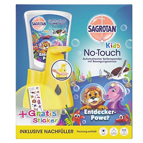 Sagrotan No-Touch Kids Automatischer Seifenspender für Kinder inkl. Nachfüller Entdeckerpower und Sticker, Flüssige Handseife, 1er Pack (1 x 250 ml), sortiert