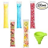 Watooma Ice Pop Beutel Einweg Eis Popsicle Staubbeutel Zip Druckverschluss Ice Candy Staubbeutel Ice Smoothie Staubbeutel und Smoothies, BPA-Frei, 100 Stück