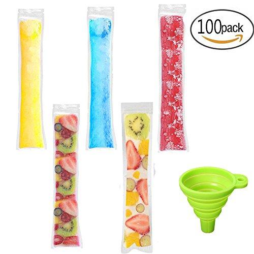 Ice Pop Beutel Einweg Eis Popsicle Staubbeutel Zip Druckverschluss Ice Candy Staubbeutel Ice Smoothie Staubbeutel und Smoothies, BPA-Frei, 100 Stück