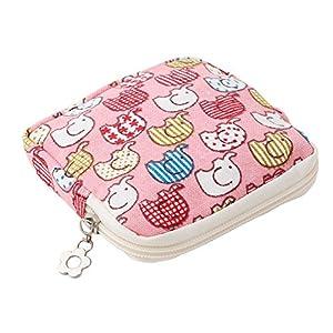 ODN Sanitary Napkin Holder Zipper Storage Pocket with Pink Elephant Style