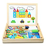Magnetic Jigsaw Puzzles | Innoo Tech Educational Wooden Toy for Kids 3 4 5 Years Old | Double Sided Magnetic Drawing Board with 3 Color Pens | Construction Theme | 70 Pieces