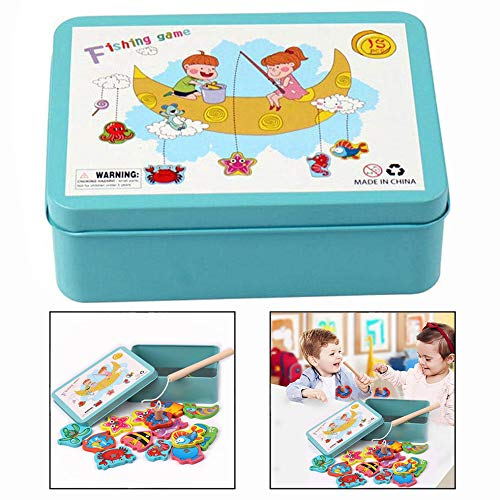 LHKJ Magnetic Fishing Game Toys Set Wooden Fishing Toy Game for Toddlers with 15 Different Fishes, 1 Magnetic Rods