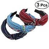 Frcolor Set Damen-Reifen mit Tuch mit Kreuz-Knoten-(blau + Navy (Weinrot)