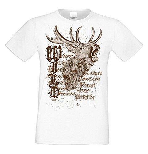 Trachten T-Shirt Herren für Oktoberfest Volksfest Freizeit : Übergrößen bis 5XL Wild Farbe: weiss Gr: L
