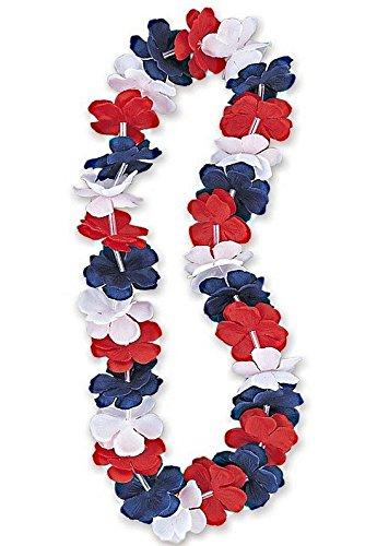 KETTE HAWAII rot blau weiß-Blumenkette France Football OUTFIT (Rot, Weiß Und Blau Kostüme)