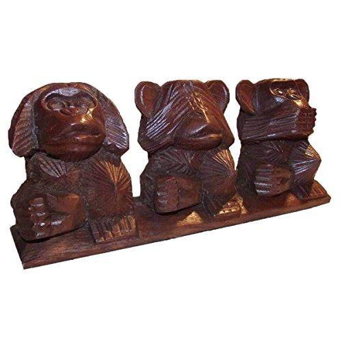 Simandra Holz Figur Skulptur Abstrakt Holzfigur Statue Afrika Asia Handarbeit Deko 3 Affen Größe Zusammen