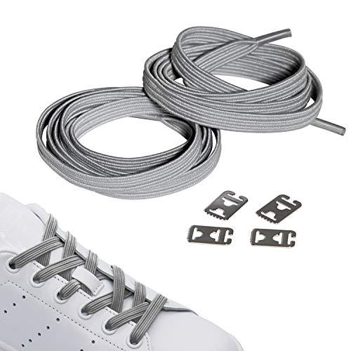 JANIRO Elastische Schnürsenkel mit Schnellverschluss   Flexible schleifenlose Schuhbänder ohne Binden   Hickies für Kinder & Erwachsene (hell grau)