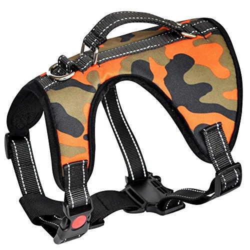 Lantra Besa 2 Gebrauchsweisen Hunde Weste Harness Hundegeschirr - für alle Größen und Jahreszeiten - Verstellbar Reflektierend und Gepolstert Typ 3 - Camouflage, S (Camouflage-weste Hund)