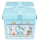 Das Kostümland Baby Shower Party Geschenkbox - Blau - Zauberhafte Verpackung Gastgeschenk zur Geburt Junge