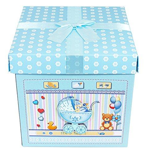 Das Kostümland Baby Shower Party Geschenkbox - Blau - Zauberhafte Verpackung Gastgeschenk zur Geburt - Box Boy Kostüm