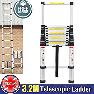 Autofather Telescopic 3.2M Aluminum DIY Extension Ladder Single Straight Muli Purpose Step Climb Light Weight Maximum Load 150KG 330lbs Compact and Sturdy, UK Stock