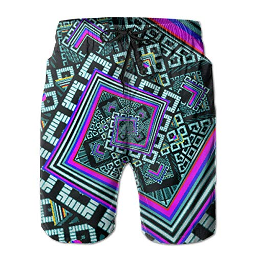 Jiger Boardshort Kaleidoscope Trippy Acid Boys Teen Quick Dry Sports TrunksL -