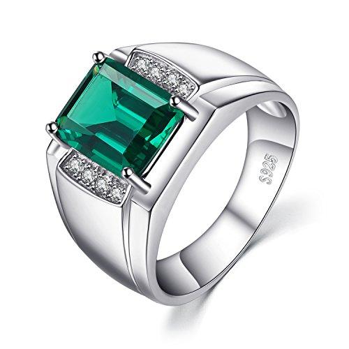 Jewelrypalace Herren Luxus 2.7ct Simulierte Nano russischen Smaragd-Jahrestags-Hochzeits-Ring echt 925 Sterling Silber (Gold Weiß Diamant-ring-männer Schwarz)