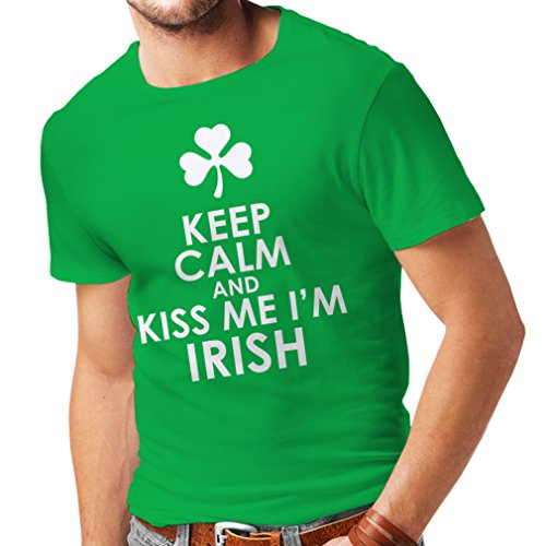 Kostüm Irland Modern Dance - Männer T-Shirt Kiss me I'm Irish, Saint Patrick Day Jokes Quotes Shirts (XX-Large Grün Mehrfarben)