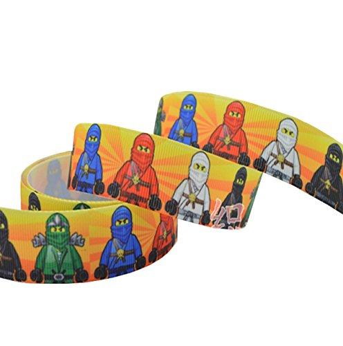 Pimp My Shoes 2m x 22mm, Lego Ninjago Grosgrain Ribbon für Kuchen, Geburtstag Kuchen Geschenkpapier-Band Haarschleifen-Schnürsenkel (Lego-geburtstag-kuchen-dekorationen)
