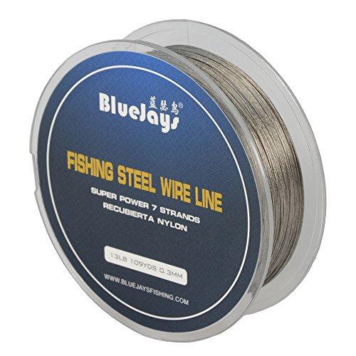 Bluejays 100m Angeln Stahl Draht Linien Angeln Draht Nylon beschichtet 1x 7Strähnen Edelstahl Leader Draht, 0.3mm 109YDS 13 Pound Test, 0.3mm 109YDS 13 Pound Test