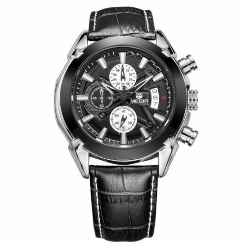 Handcuffs (MEGIR 2020) Brand Military Sports Chronograph Watch with Leather Strap For Men